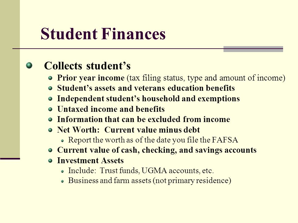 Student Finances Collects student's