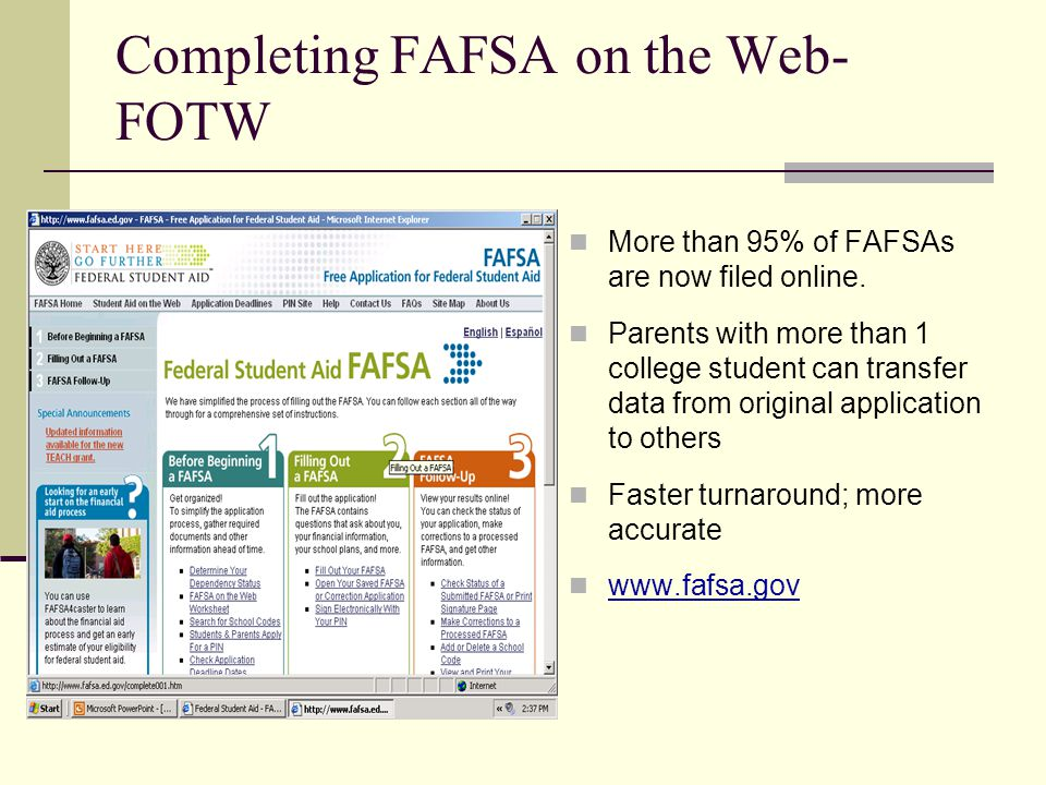 Completing FAFSA on the Web-FOTW