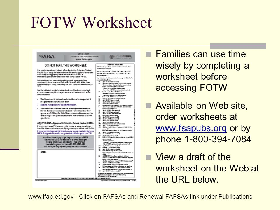 FOTW Worksheet Families can use time wisely by completing a worksheet before accessing FOTW.
