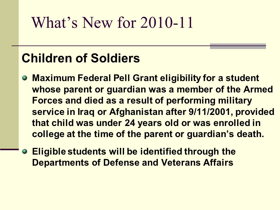What's New for 2010-11 Children of Soldiers