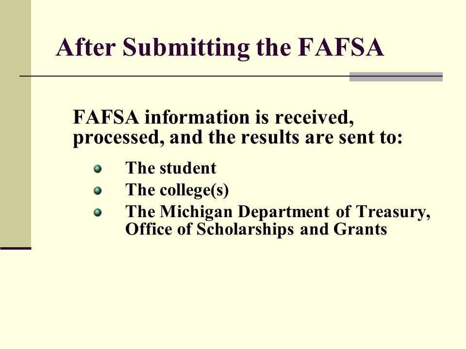 After Submitting the FAFSA