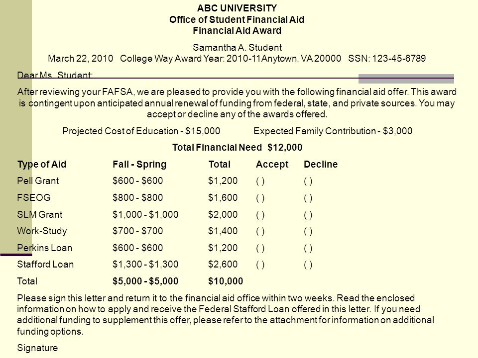 ABC UNIVERSITY Office of Student Financial Aid Financial Aid Award