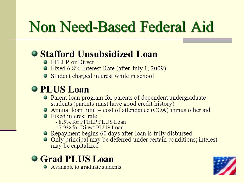 Non Need-Based Federal Aid