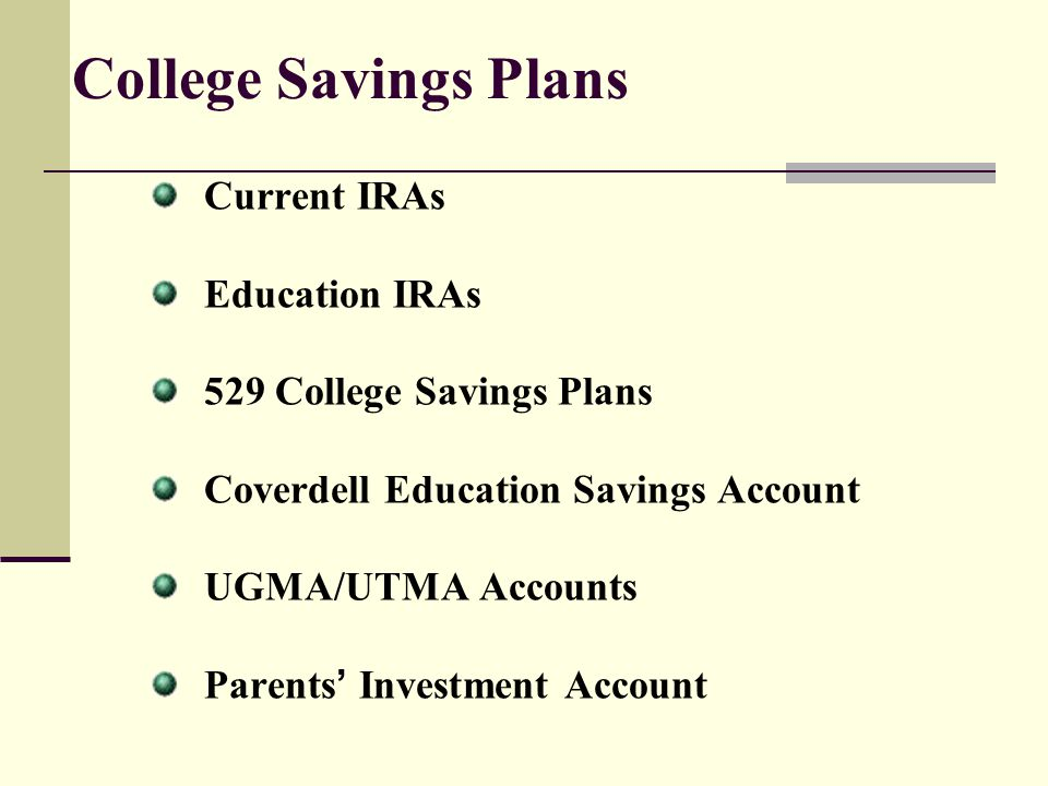 College Savings Plans Current IRAs Education IRAs