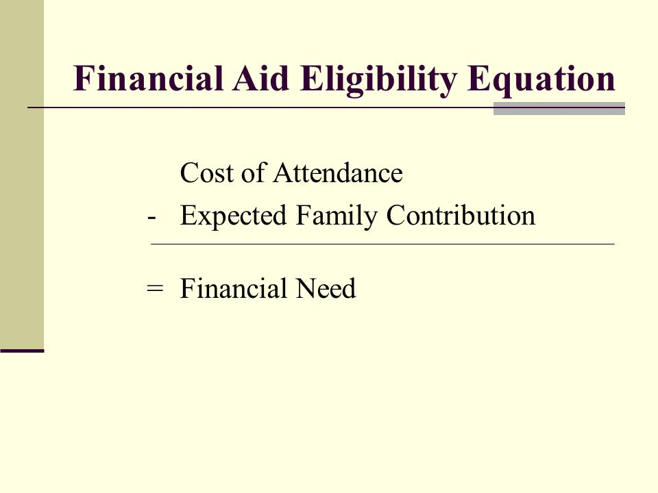 Financial Aid Eligibility Equation