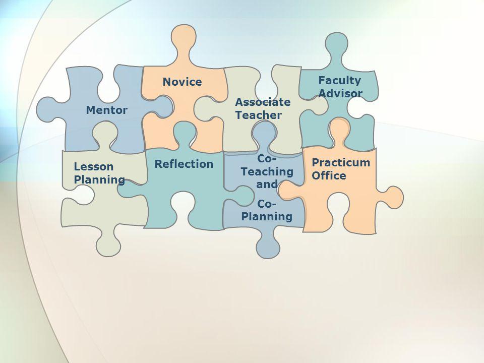 Novice Faculty Advisor. Mentor. Associate Teacher. Practicum Office. Lesson Planning. Reflection.
