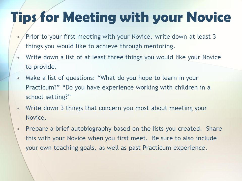 Tips for Meeting with your Novice