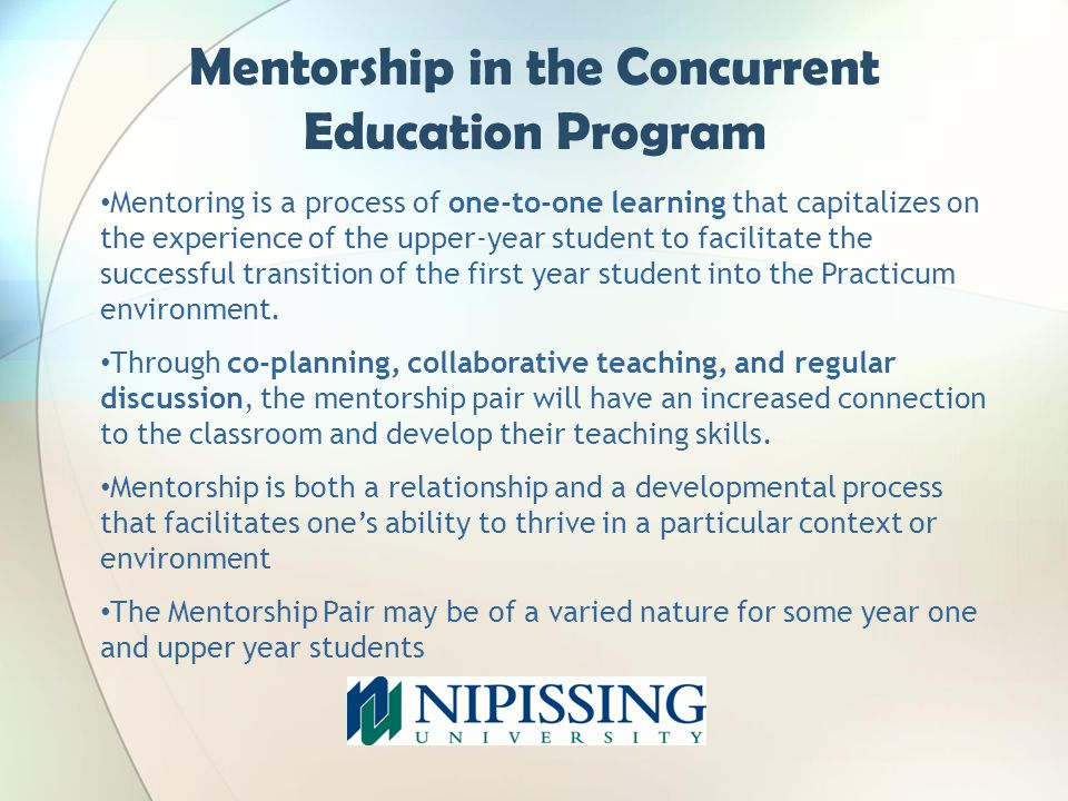 Mentorship in the Concurrent Education Program