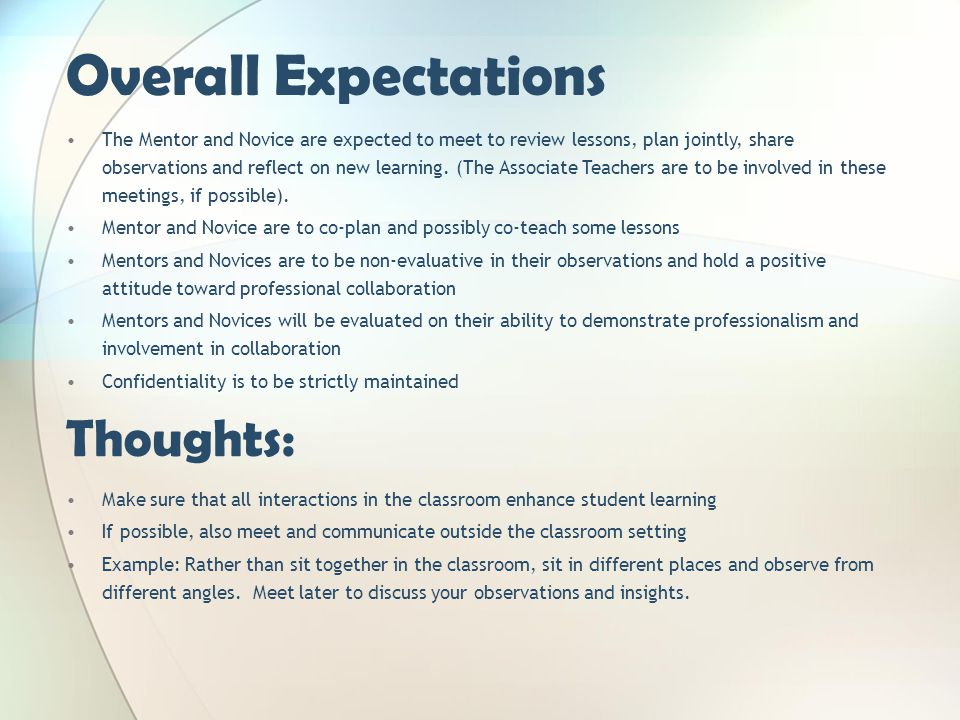Overall Expectations Thoughts:
