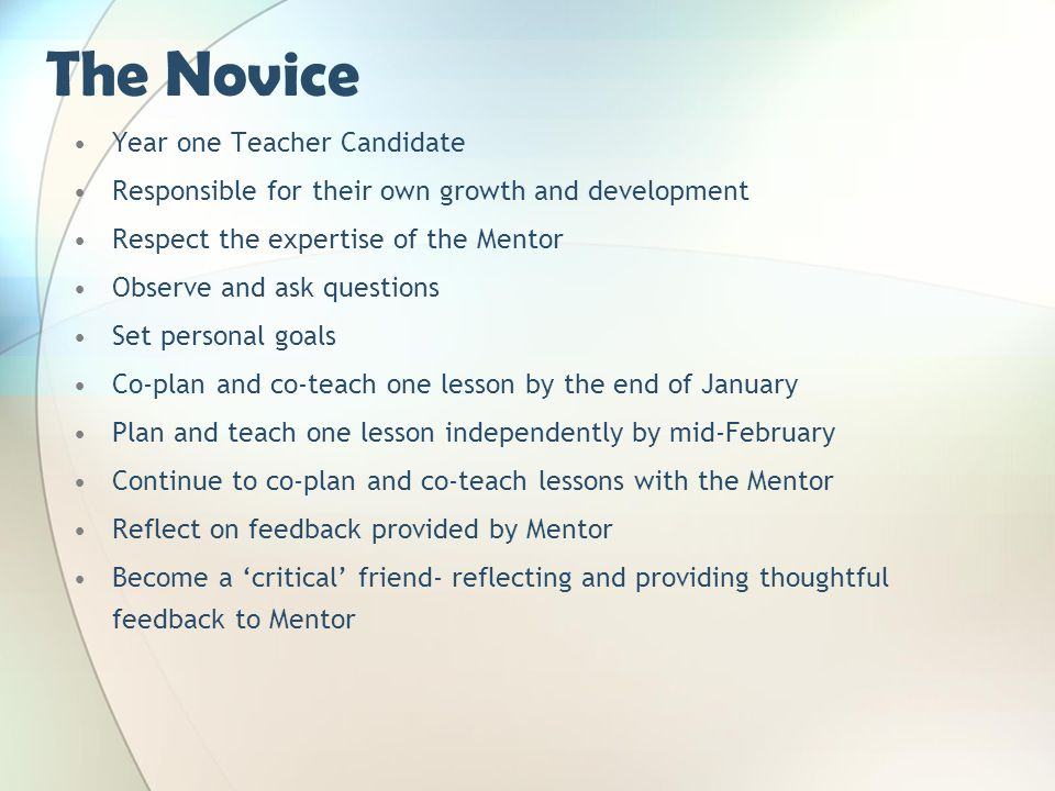 The Novice Year one Teacher Candidate