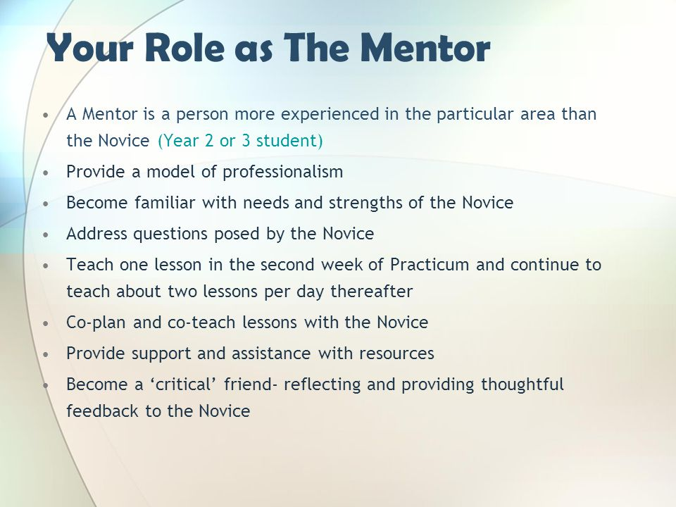 Your Role as The Mentor A Mentor is a person more experienced in the particular area than the Novice (Year 2 or 3 student)