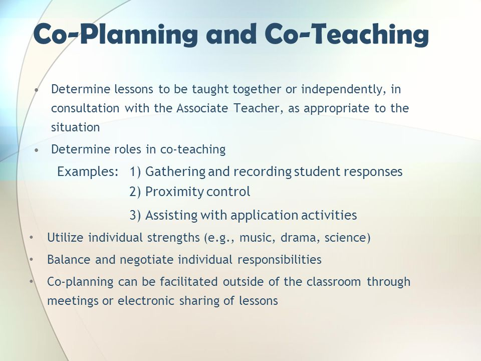 Co-Planning and Co-Teaching