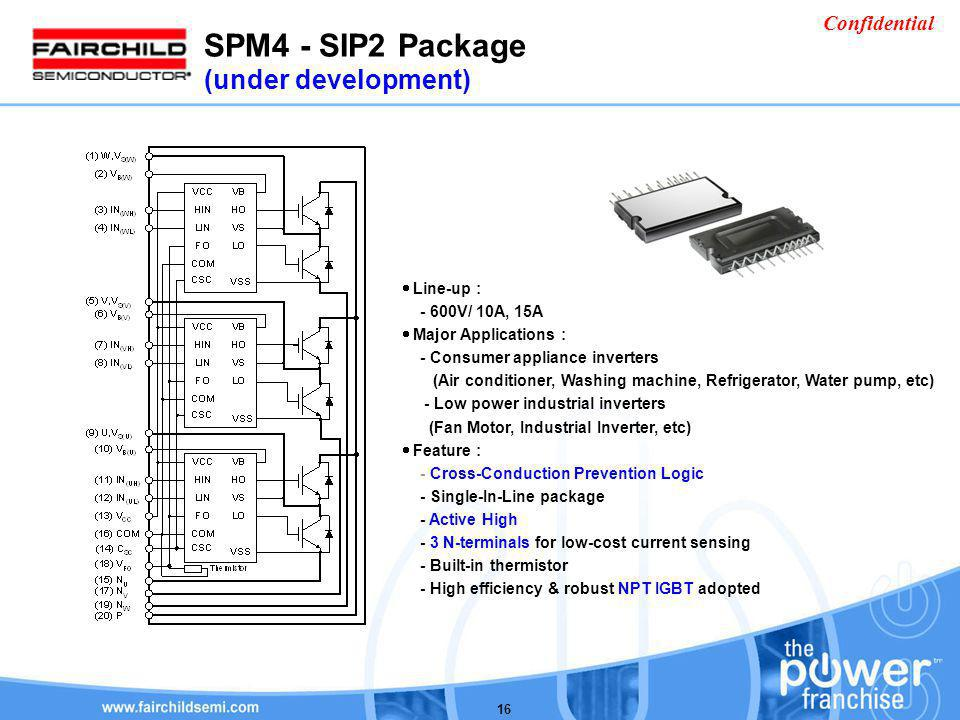 SPM4 - SIP2 Package (under development) Line-up : - 600V/ 10A, 15A