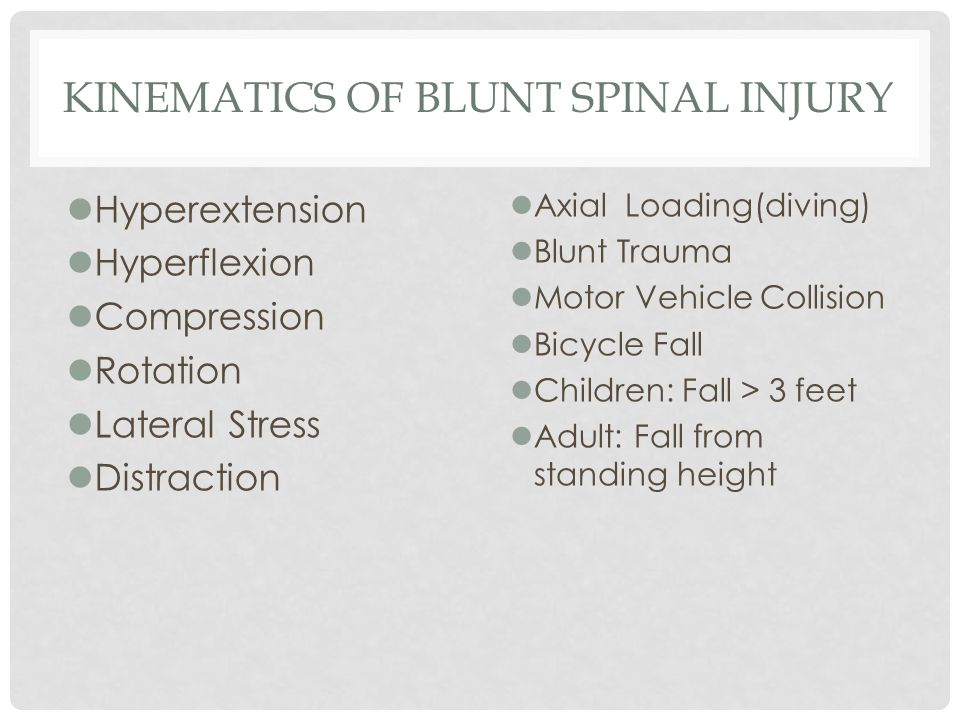 Kinematics of Blunt Spinal Injury