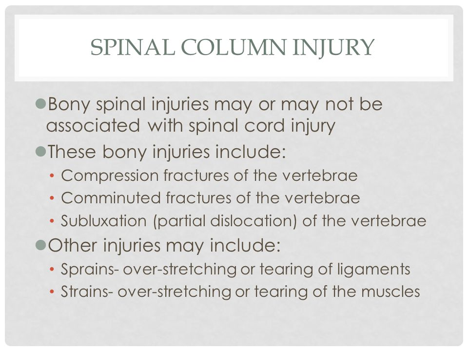 Spinal Column Injury Bony spinal injuries may or may not be associated with spinal cord injury. These bony injuries include: