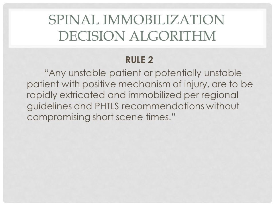 Spinal Immobilization Decision Algorithm