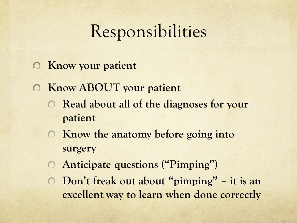 Responsibilities Know your patient Know ABOUT your patient