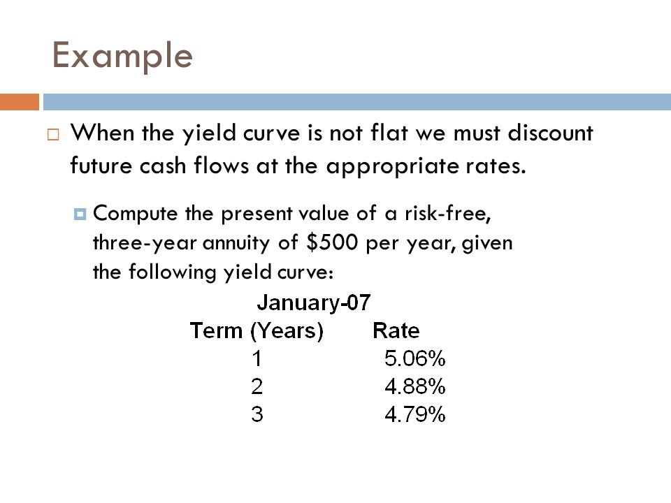 Example When the yield curve is not flat we must discount future cash flows at the appropriate rates.