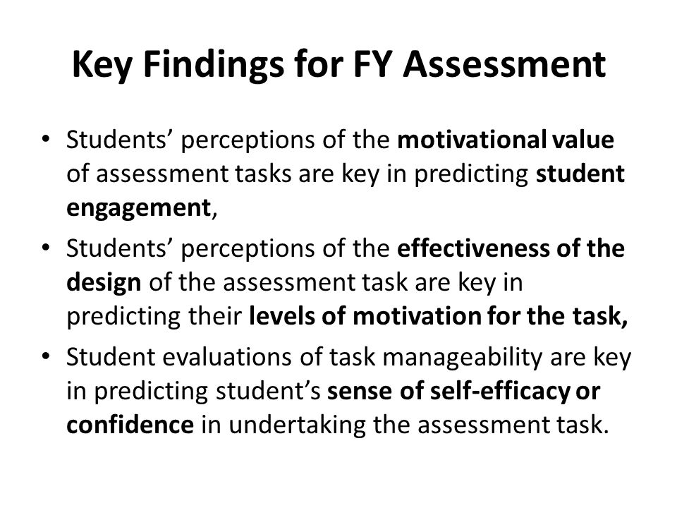 Key Findings for FY Assessment