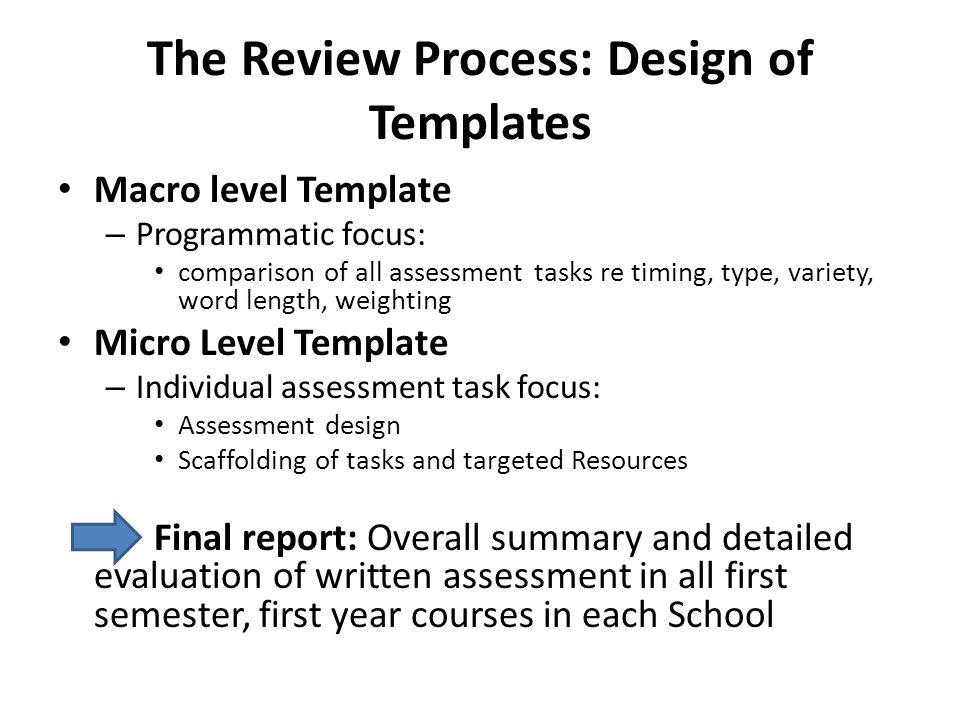 The Review Process: Design of Templates