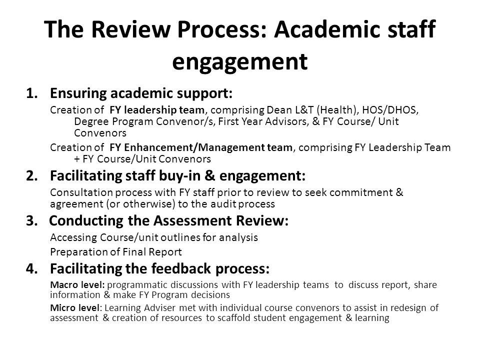 The Review Process: Academic staff engagement