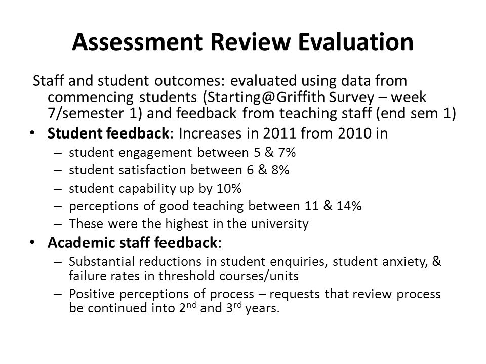 Assessment Review Evaluation