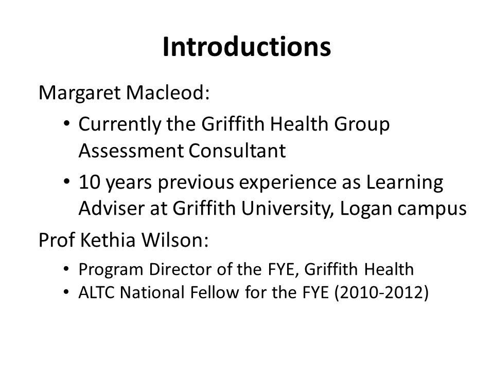 Introductions Margaret Macleod: