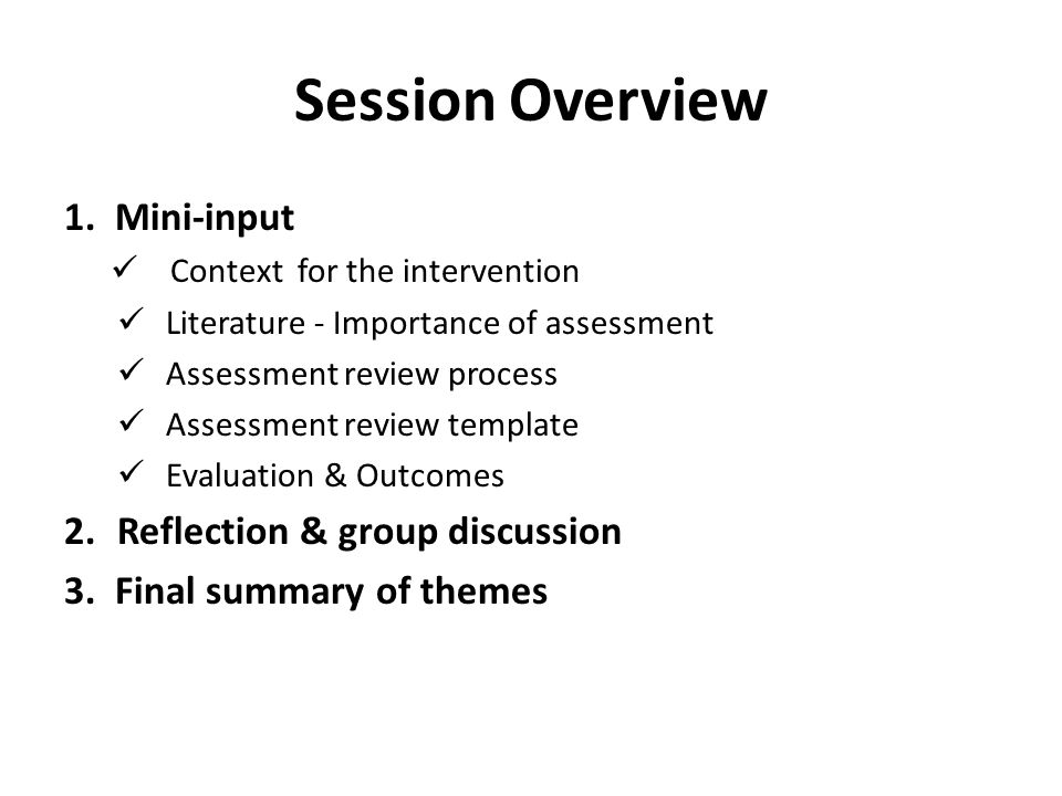 Session Overview 1. Mini-input Reflection & group discussion