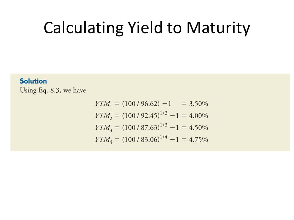 Calculating Yield to Maturity