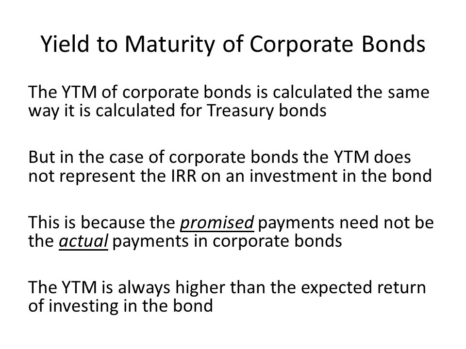 Yield to Maturity of Corporate Bonds