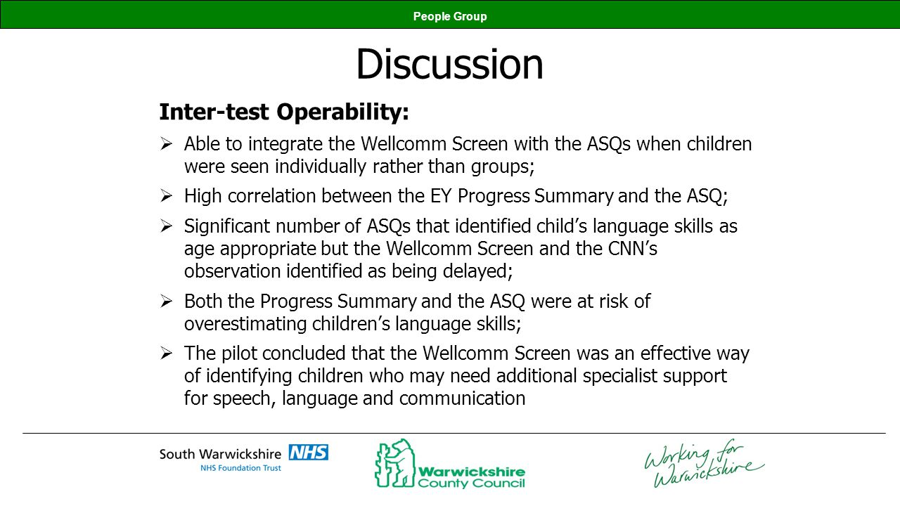 Discussion Inter-test Operability: