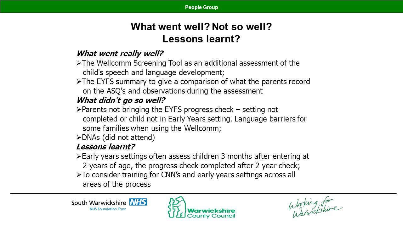 What went well Not so well Lessons learnt