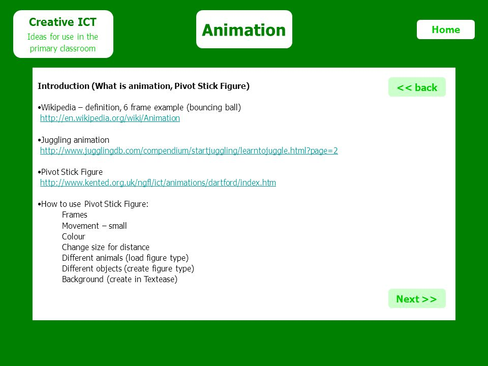 Animation Creative ICT Home << back Next >>