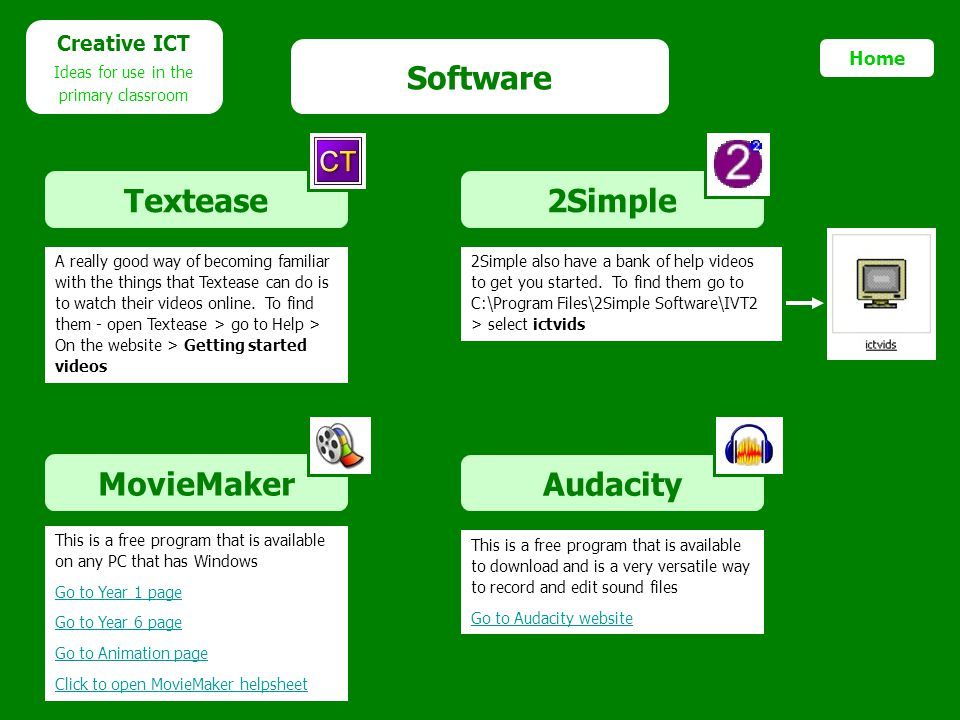 Software Textease 2Simple MovieMaker Audacity