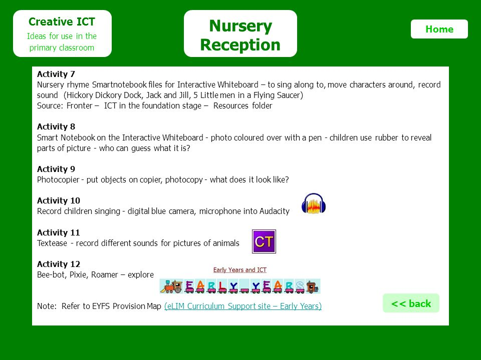 Nursery Reception Creative ICT Home << back Ideas for use in the