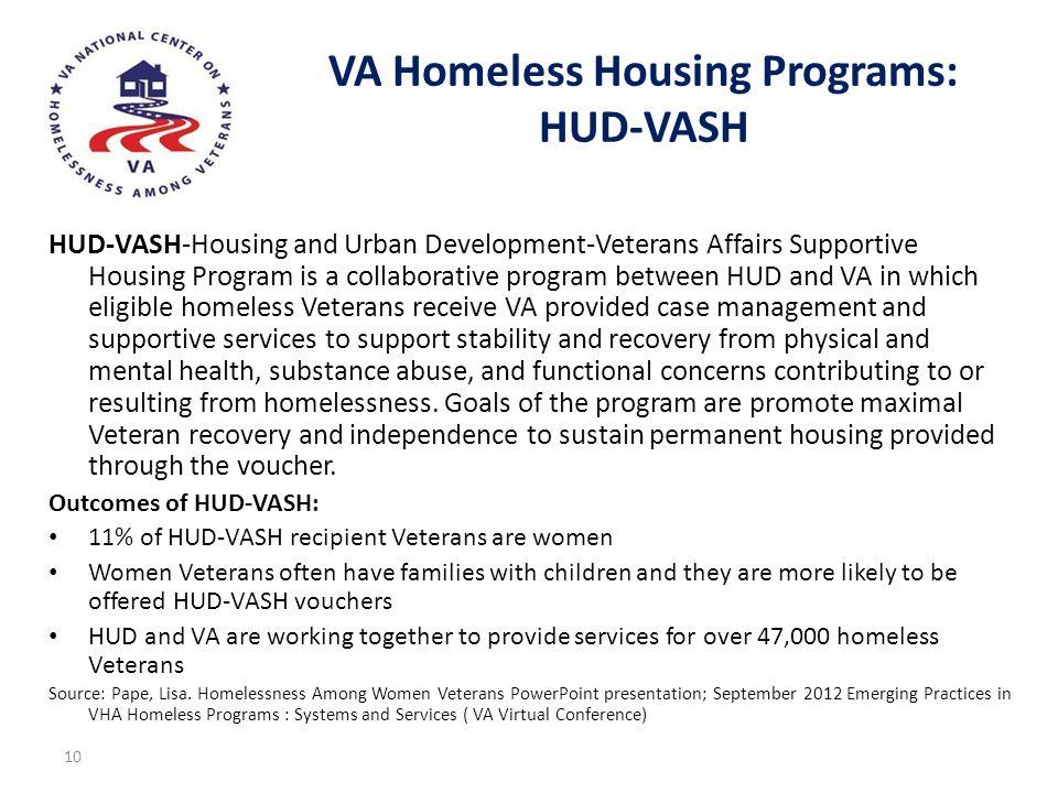 VA Homeless Housing Programs: HUD-VASH