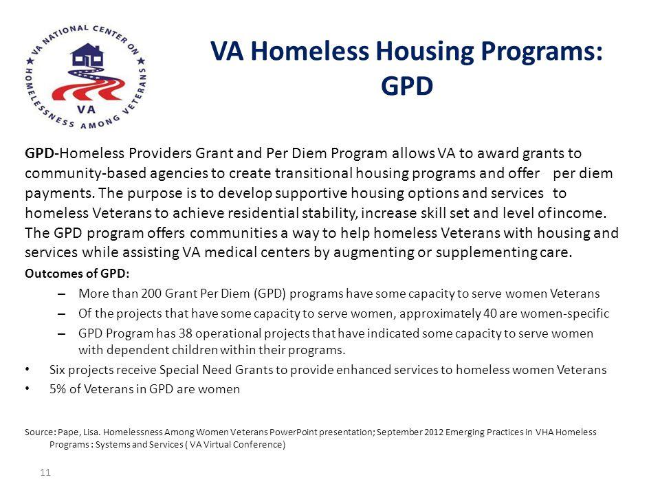 VA Homeless Housing Programs: GPD