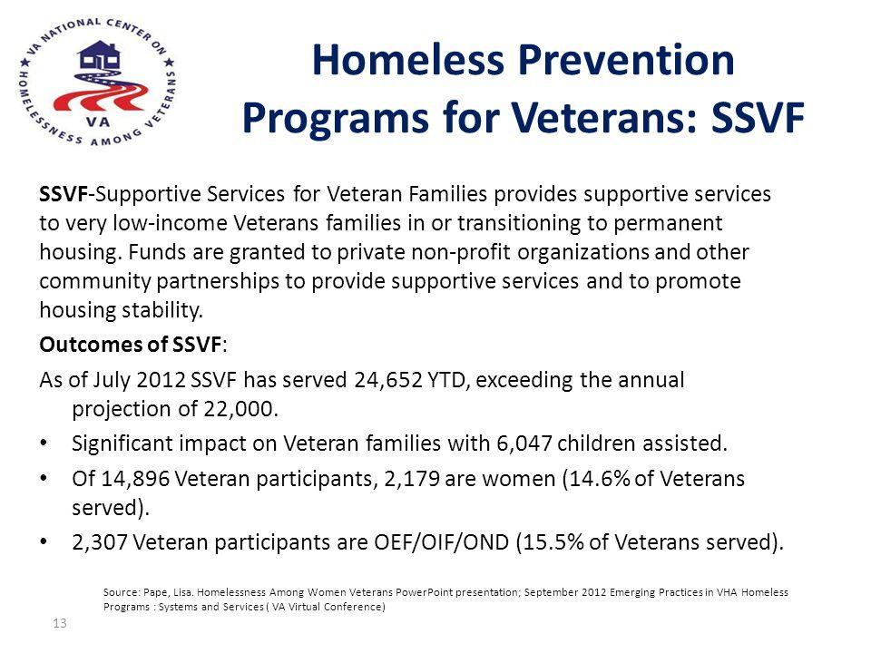 Homeless Prevention Programs for Veterans: SSVF