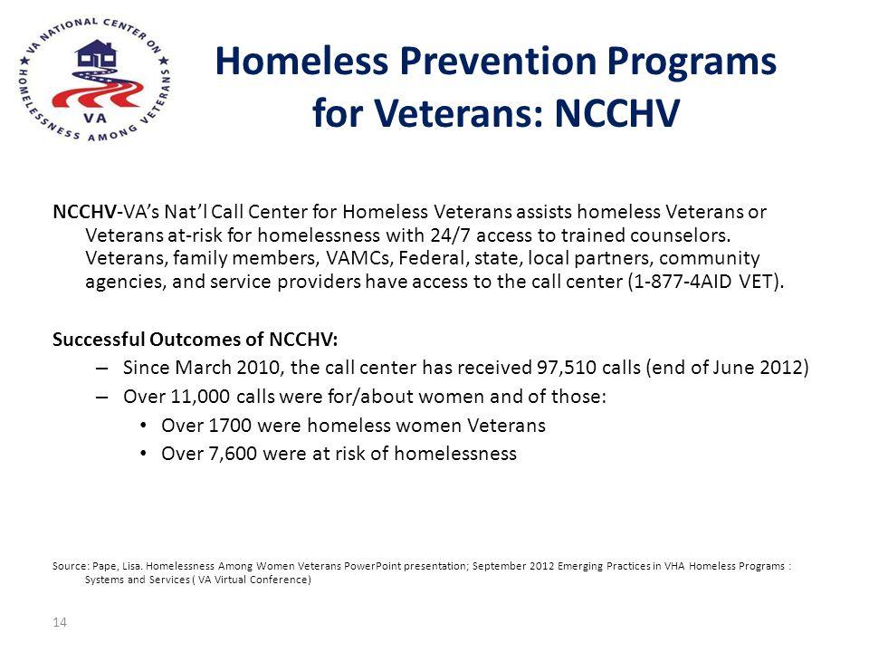 Homeless Prevention Programs for Veterans: NCCHV