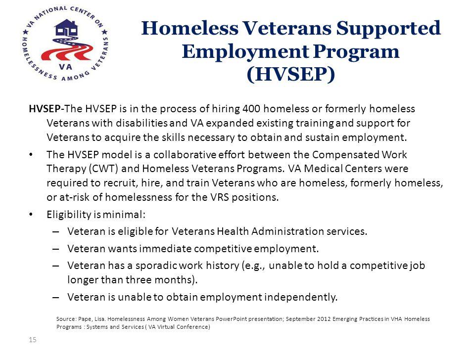 Homeless Veterans Supported Employment Program (HVSEP)