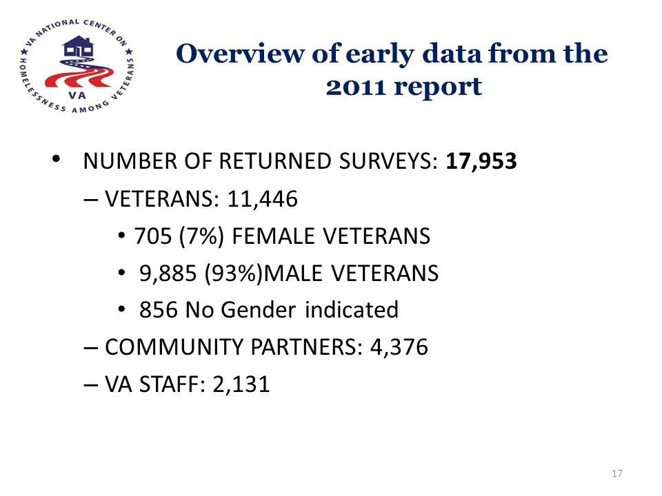 Overview of early data from the 2011 report