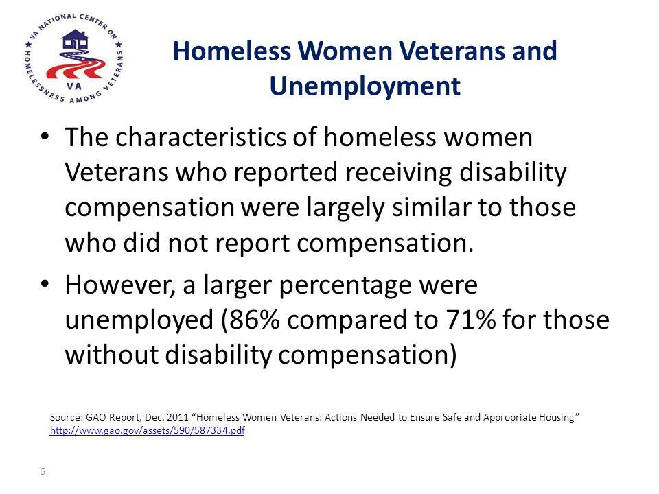 Homeless Women Veterans and Unemployment