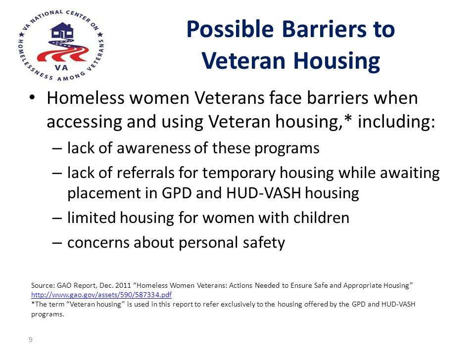 Possible Barriers to Veteran Housing