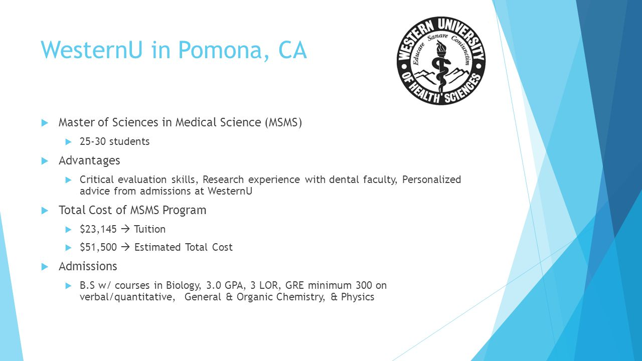 WesternU in Pomona, CA Master of Sciences in Medical Science (MSMS)