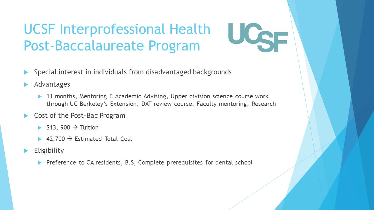 UCSF Interprofessional Health Post-Baccalaureate Program