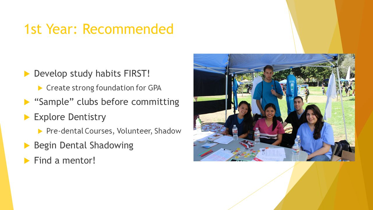 1st Year: Recommended Develop study habits FIRST!