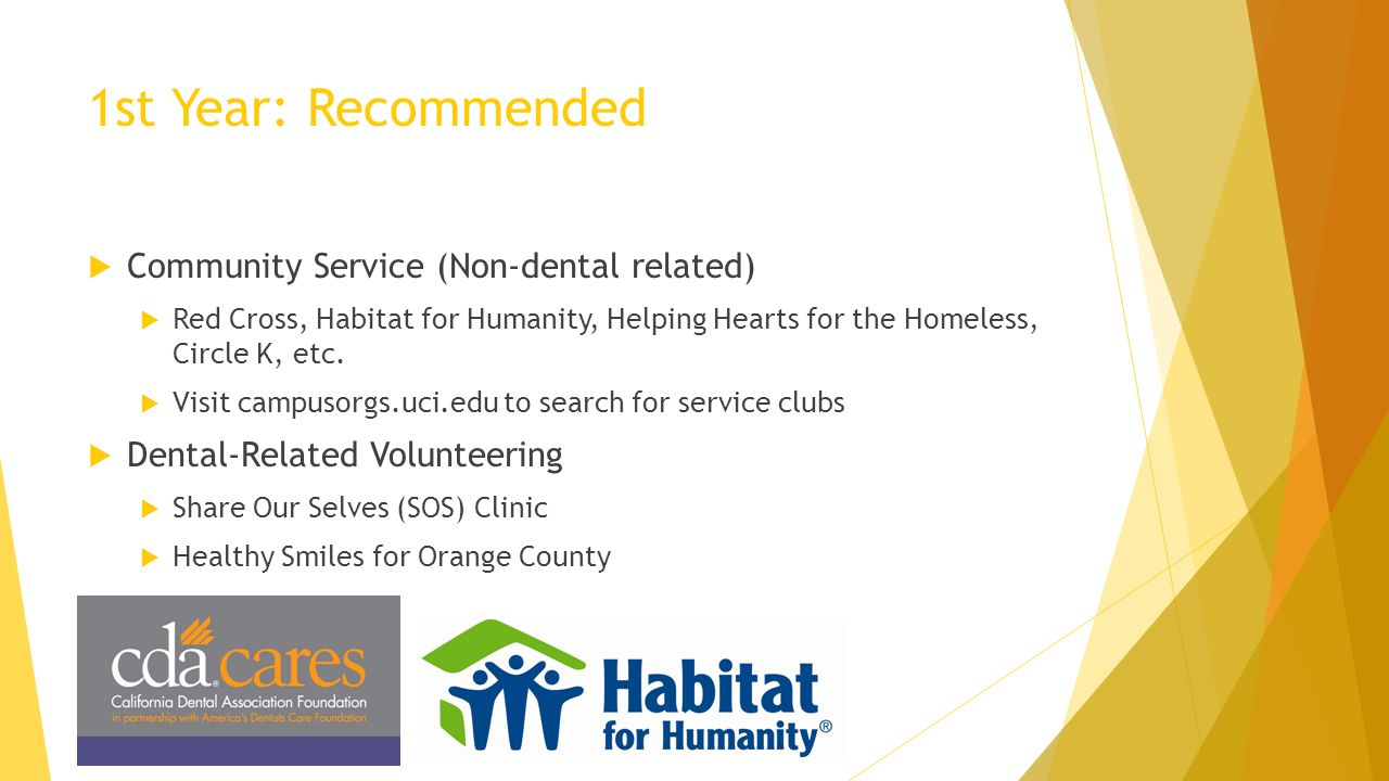 1st Year: Recommended Community Service (Non-dental related)