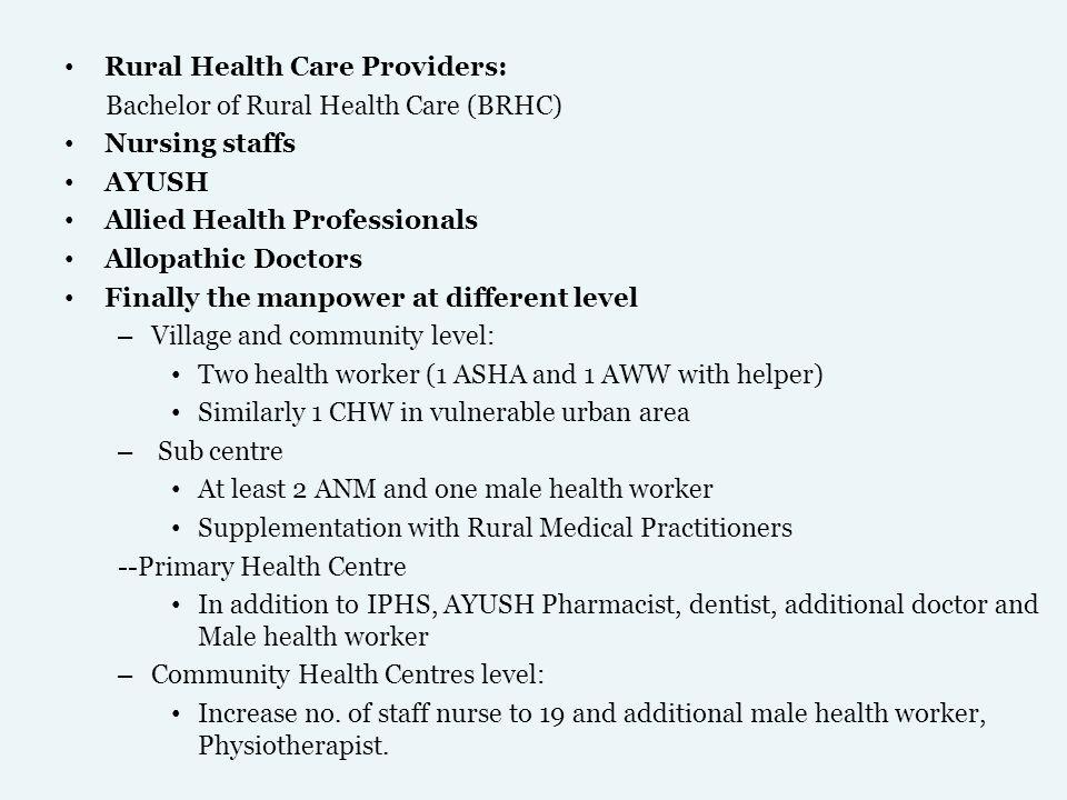 Rural Health Care Providers: