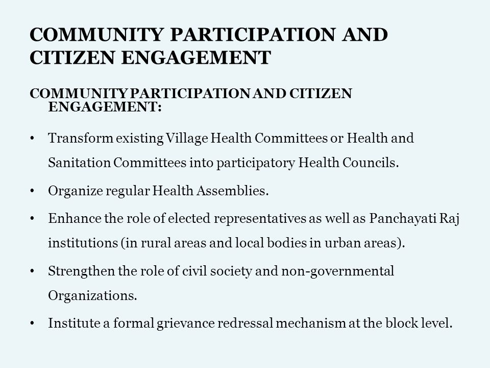 COMMUNITY PARTICIPATION AND CITIZEN ENGAGEMENT