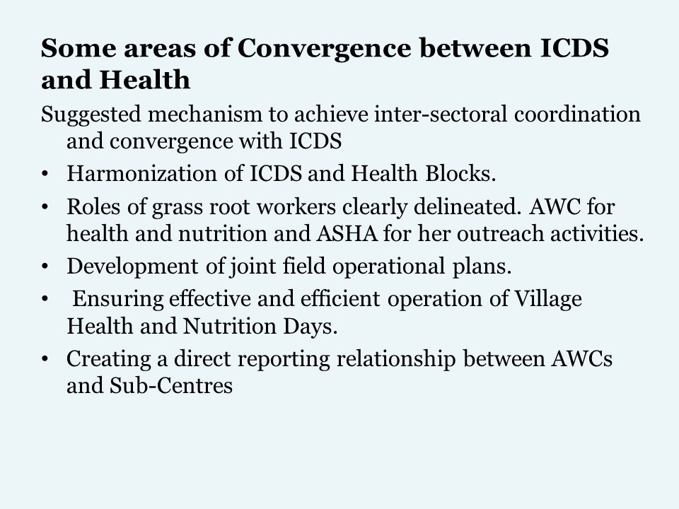 Some areas of Convergence between ICDS and Health